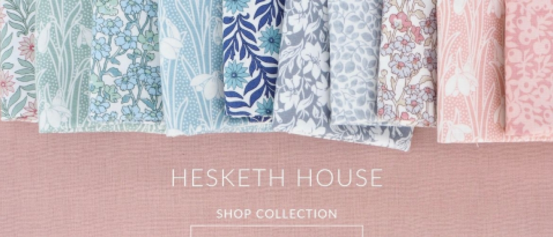 Hesketh House Liberty quilting cotton collection, pinks, green, blue and grey