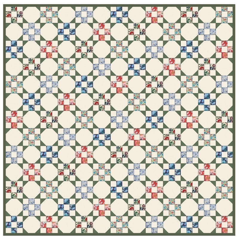 9 Patch Snowball Quilt Kit with Liberty Fabric