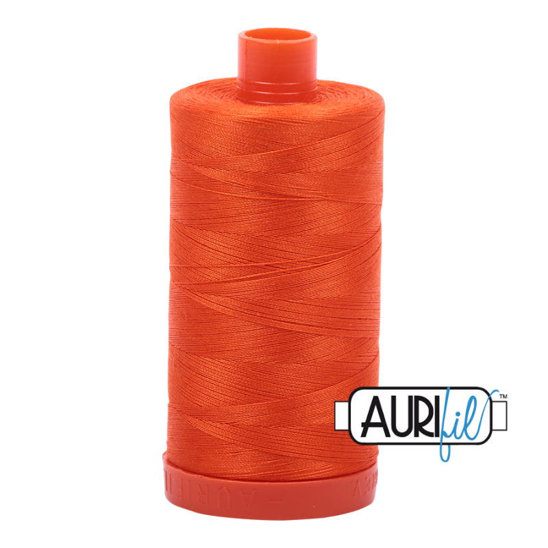 Aurifil 50wt Cotton Thread, Neon Orange #1104