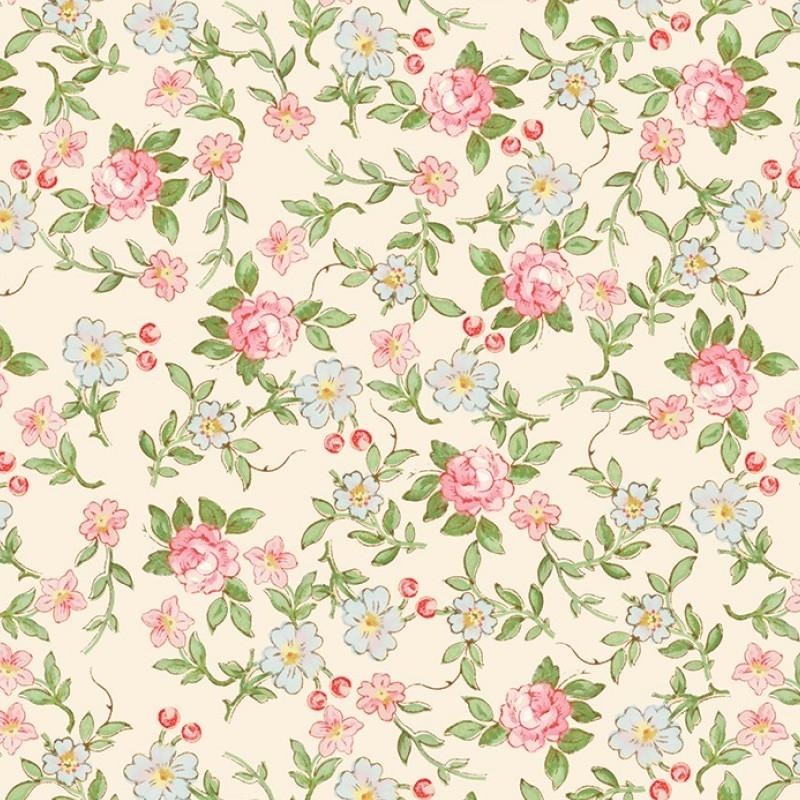Rose & Violets Garden Sweet Blossoms Cream   C10413R-CREA