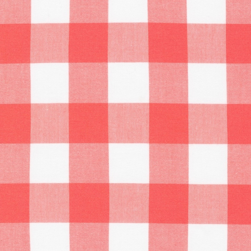 "Carolina Gingham coral and white 1"" check size quilting cotton"