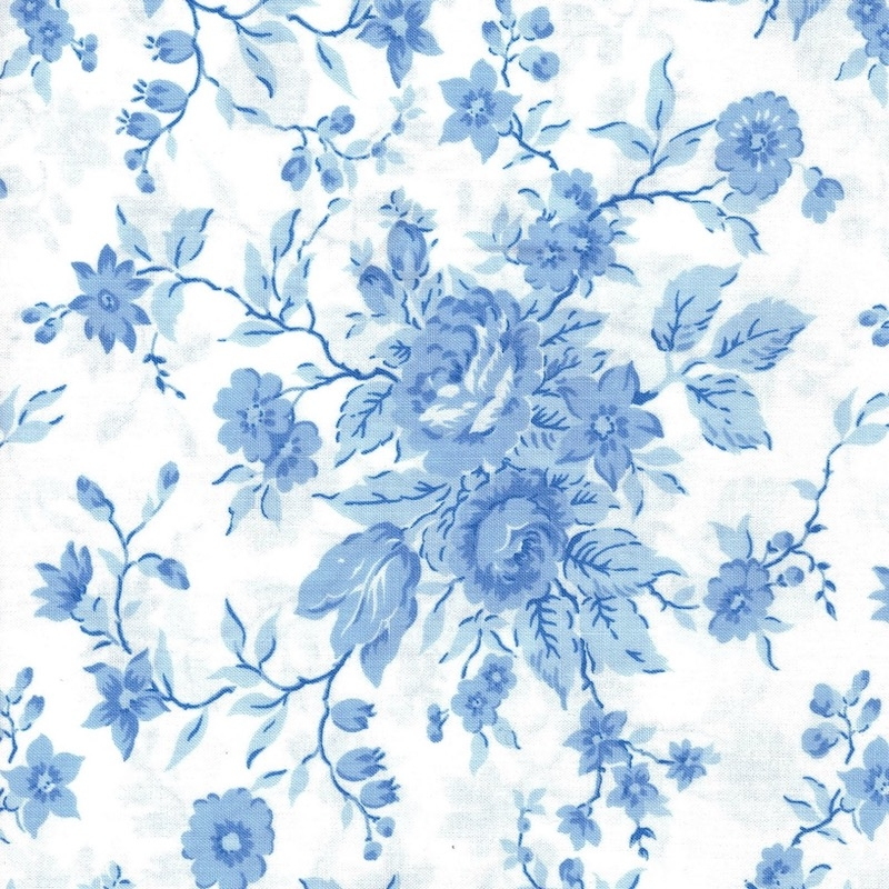 Crystal Lane Blue Bouquet on White cotton quilt fabric