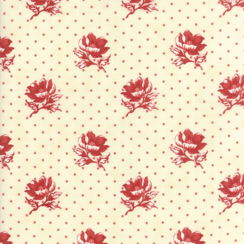 Farmhouse Reds Red on Ivory Polka Dots & Flowers 14851-13