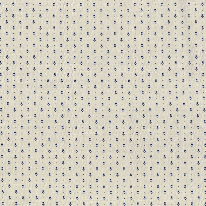 Ladies Legacy Ivory and Blue Sarah's Night Cap cotton fabric