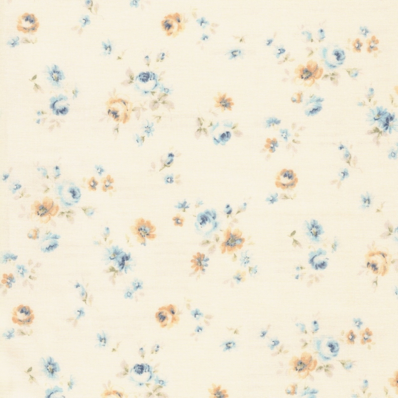 Lecien Durham blue floral on cream background