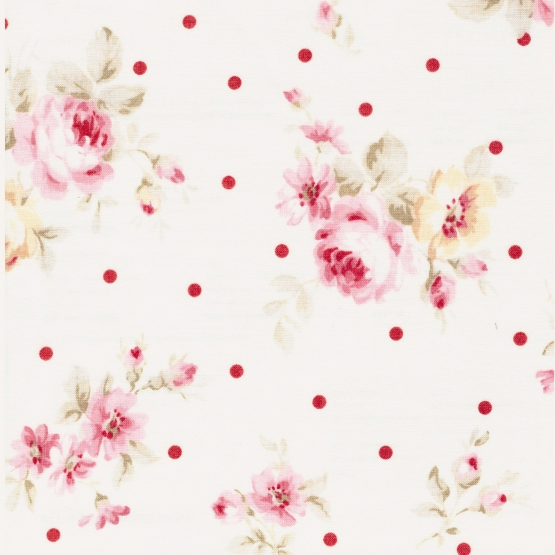 Lecien Durham soft floral and dots in pink on cream background