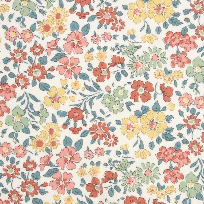 Liberty Annabella print peach, green and yellow flowers