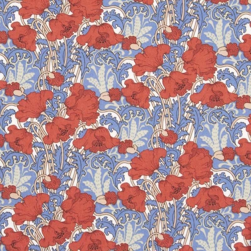 Liberty Clementina red and blue flowers