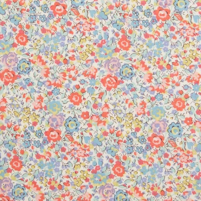 Liberty Emma & Georgina L print pastel blue and orange flowers on a white background