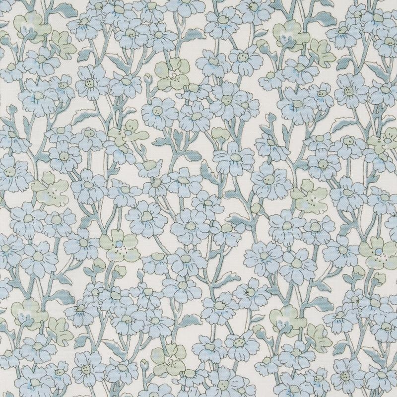 Liberty Chiltern Hill a white and blue floral fabric from Hesketh House collection