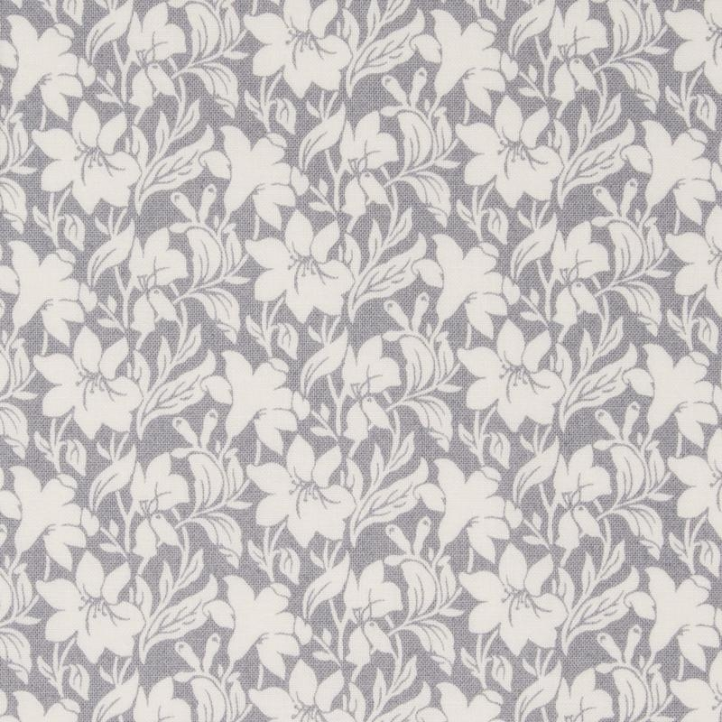 Liberty quilting cotton fabric white lilies on grey background