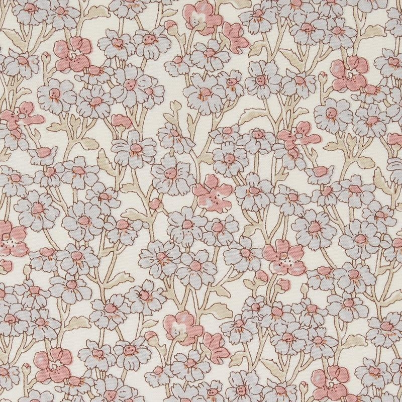 Liberty Chiltern Hill a pink and grey floral fabric from Hesketh House collection