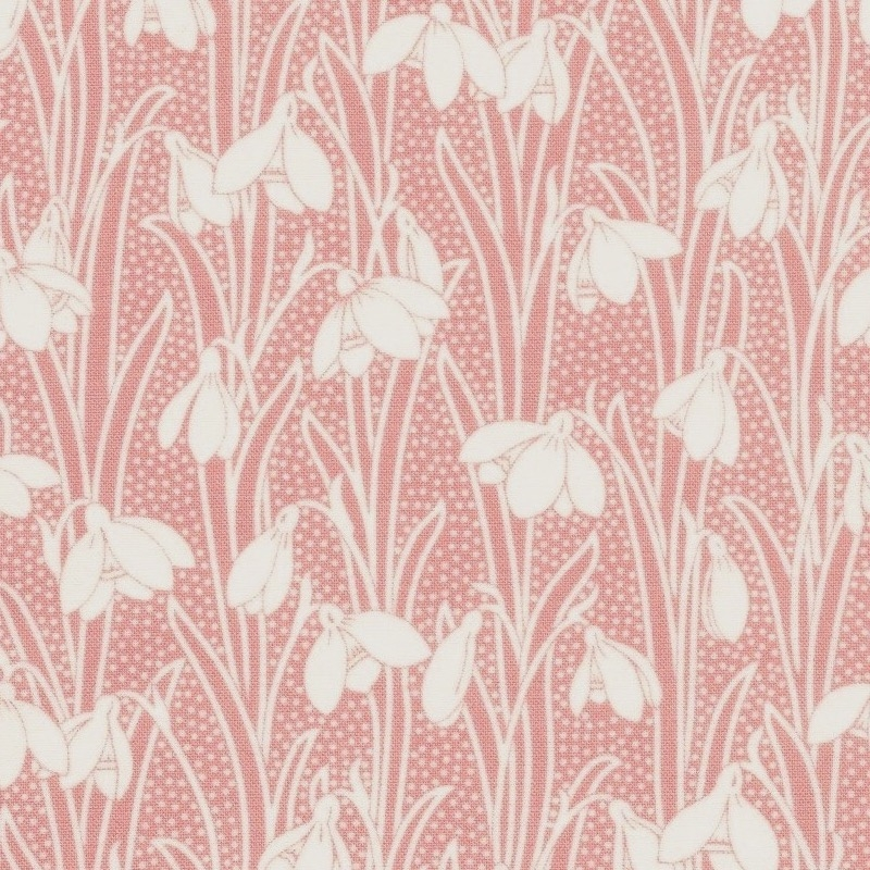 Liberty quilting cotton white snowdrop flowers on a dusky pink background
