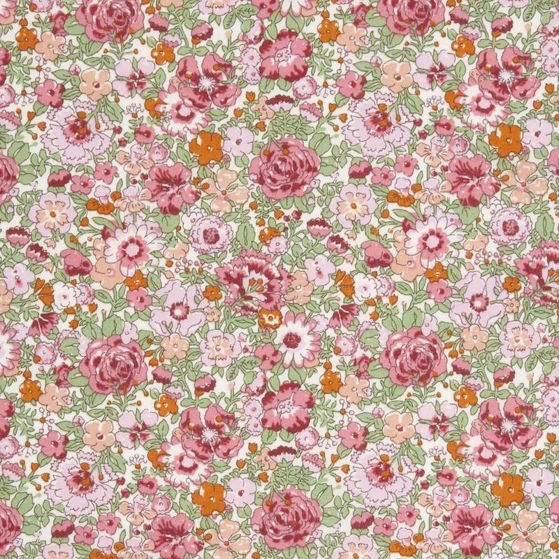 Liberty Amelie pink floral Tana lawn cotton fabric