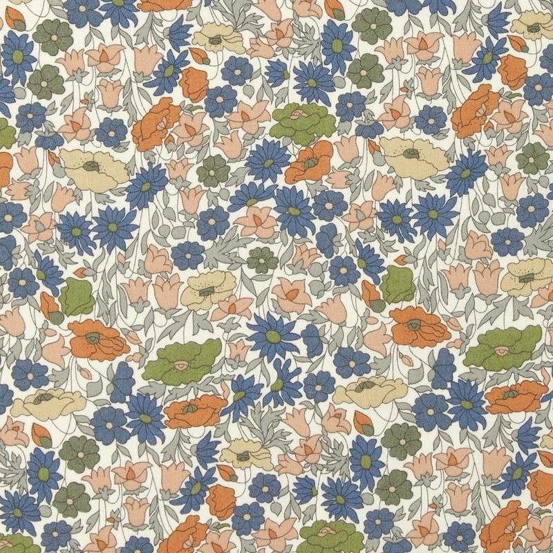 Liberty Poppy Forest print dark blue green Autumnal colours on white background