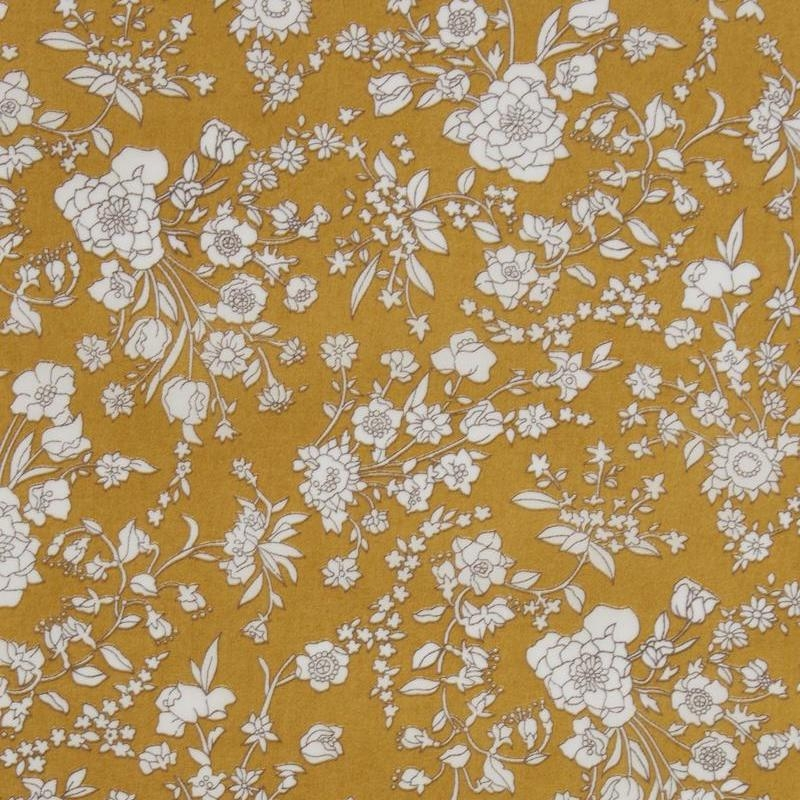 Liberty Summer Blooms print, white floral on mustard background