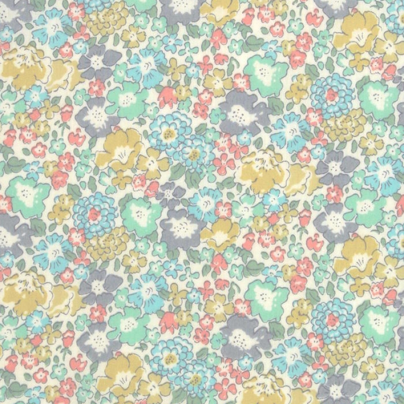 Liberty Michelle Classic Tana Lawn Green pastel floral cotton fabric