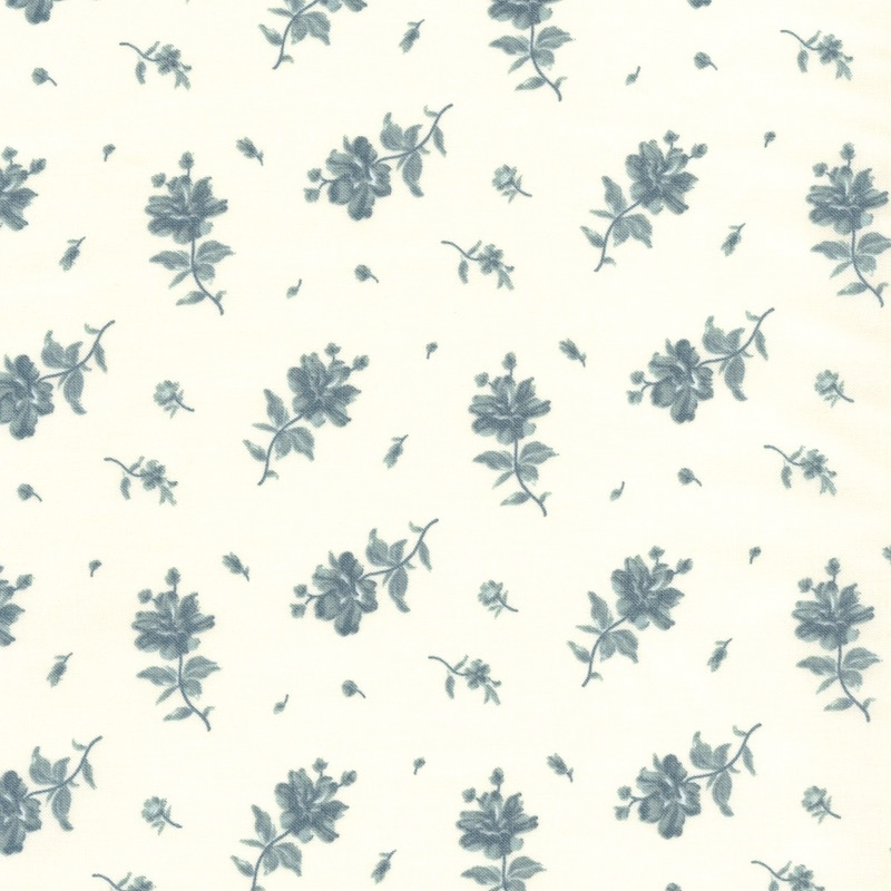 Northport Prints Blue on Cream Floating Flowers | 14883-11