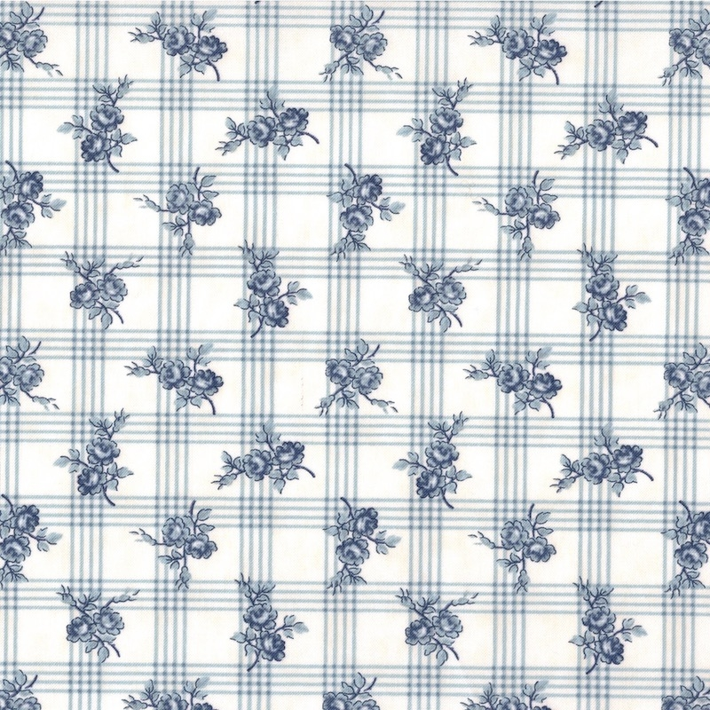Northport Prints Cream and Blue Gingham Rose | 14882-12