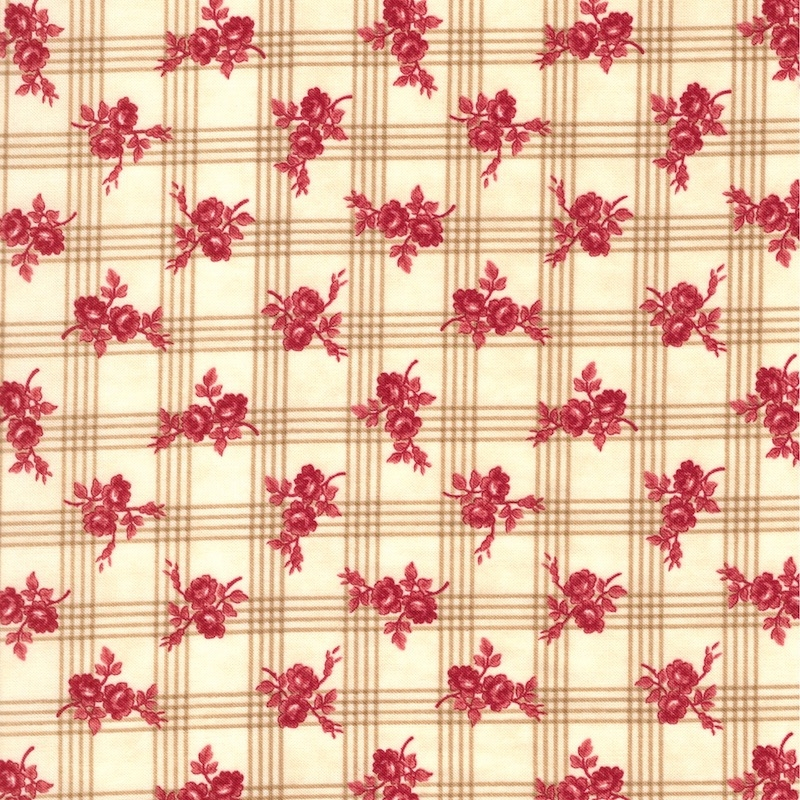 Northport Prints Minick & Simpson by Moda Tan Gingham Rose | 14882-13