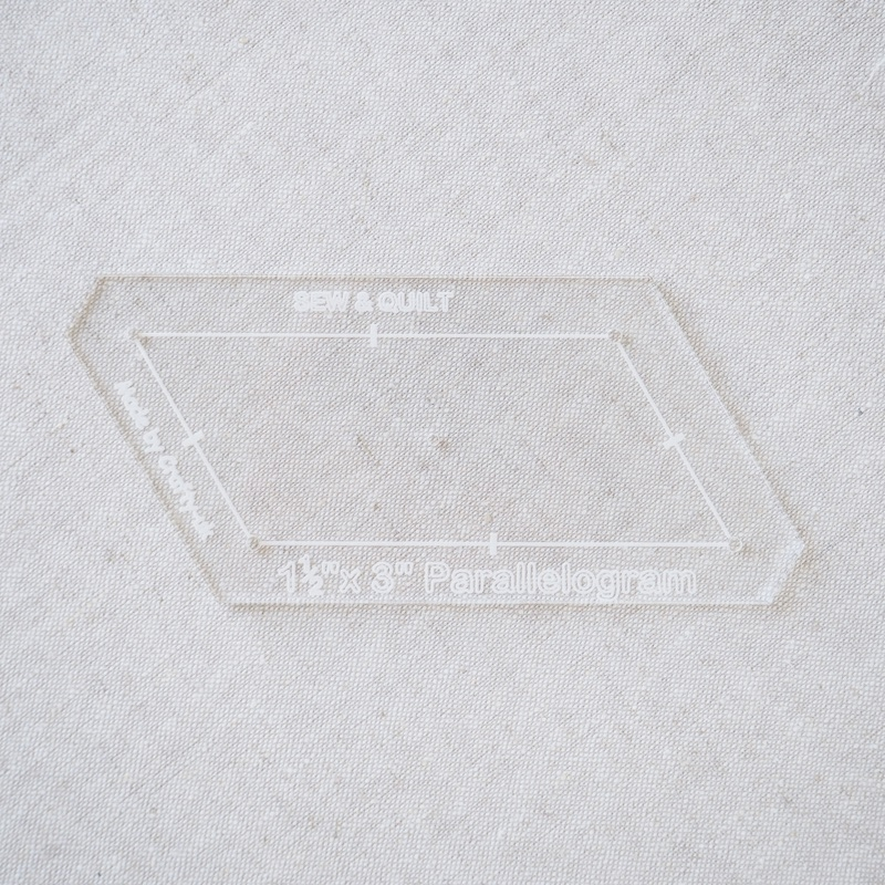 "Acrylic Cutting Template 1-1/2"" x 3"" Parallelogram"