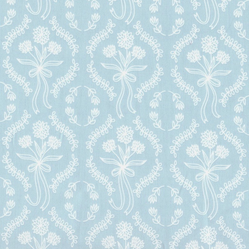 Pemberley light blue wallpaper style cotton fabric