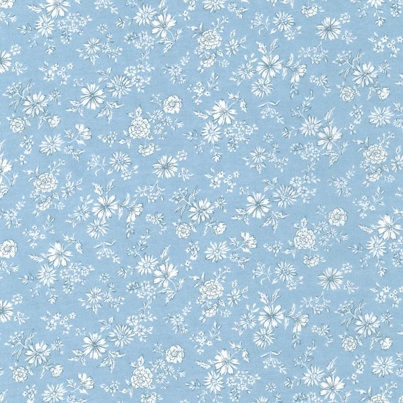 Petite Lawn Blue Flowers cotton quilting fabric