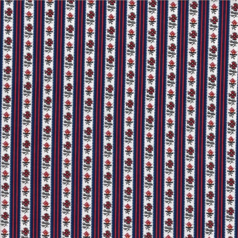 Petite Perennials Indigo Floral Stripe cotton quilt fabric