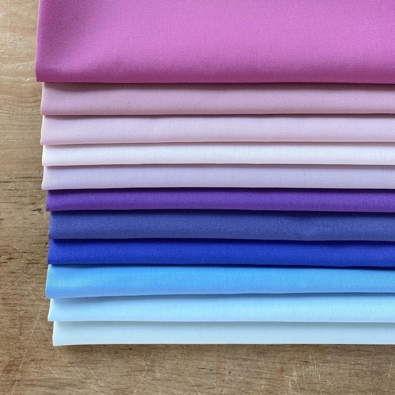 Art Gallery Fabrics Pure Solids Purple Blue Fat Quarter Bundle