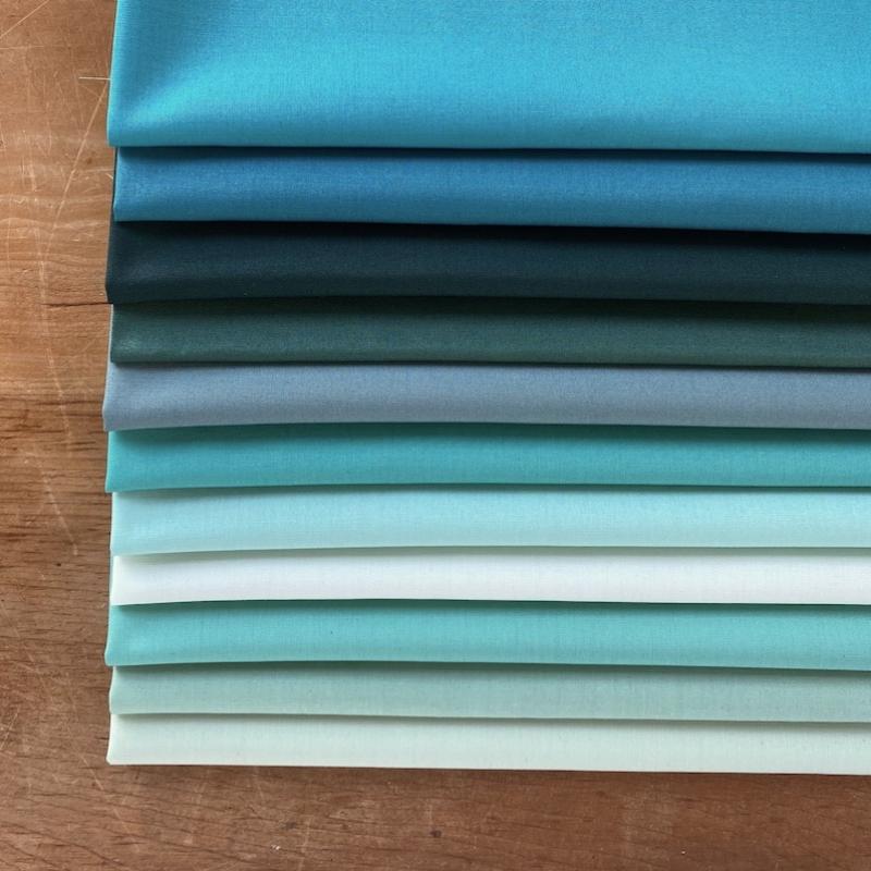 Art Gallery Fabrics Pure Solids Turquoise Fat Quarter Bundle