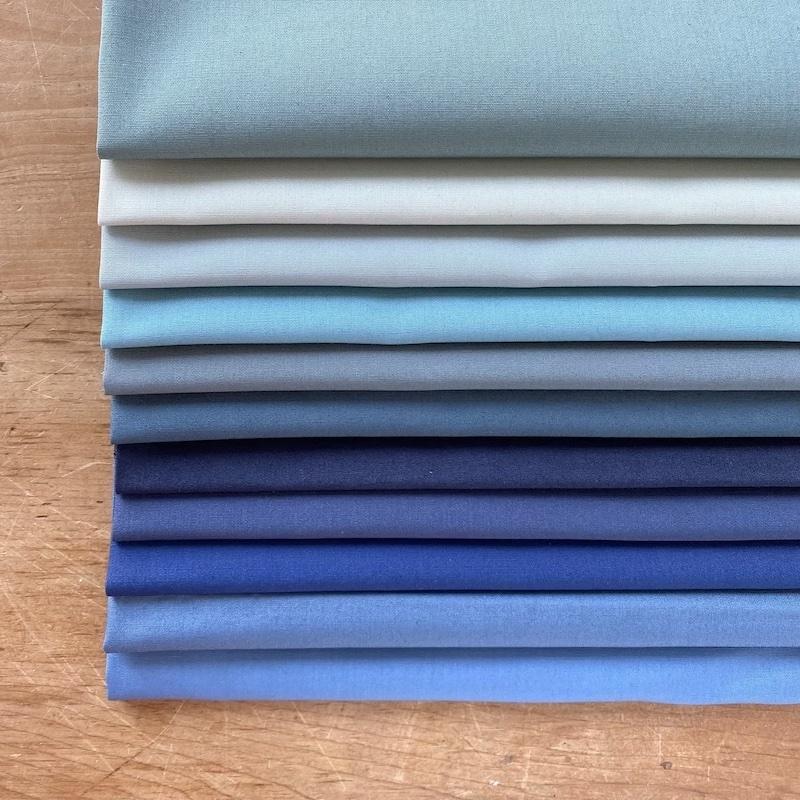 Art Gallery Fabrics Pure Solids Blue Fat Quarter Bundle