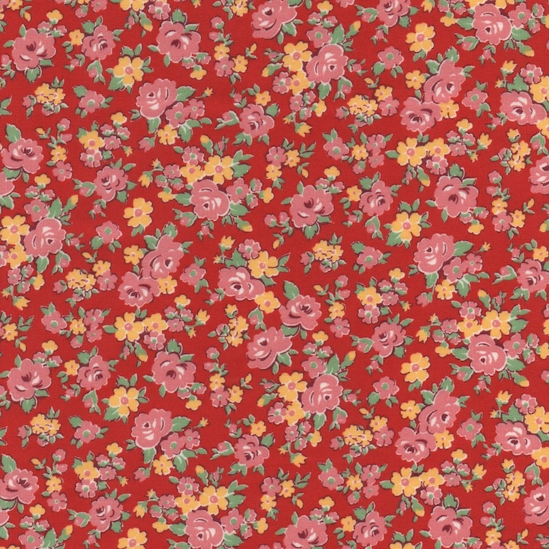 Lecien-fabric-Red-Floral- 31796L-33