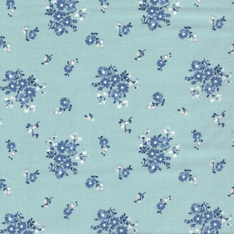 Sanderson quilting fabric, Blue Vintage Collection - Blue Boxwood Park
