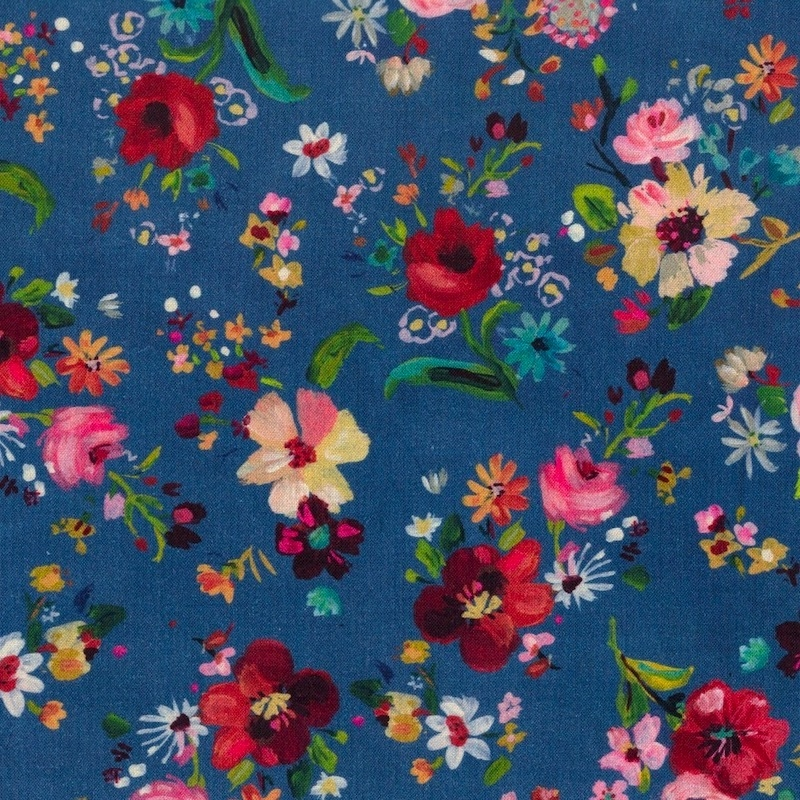Dear Stella painterly floral with red and yellow flowers on navy background quilting cotton