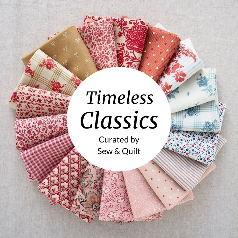 Timeless classic quilting fat quarter bundle in reds, blues, tan and pink