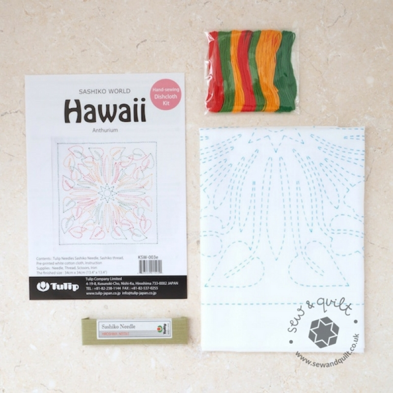 Tulip Sashiko Sewing Kit, Hawaii - Anthurium