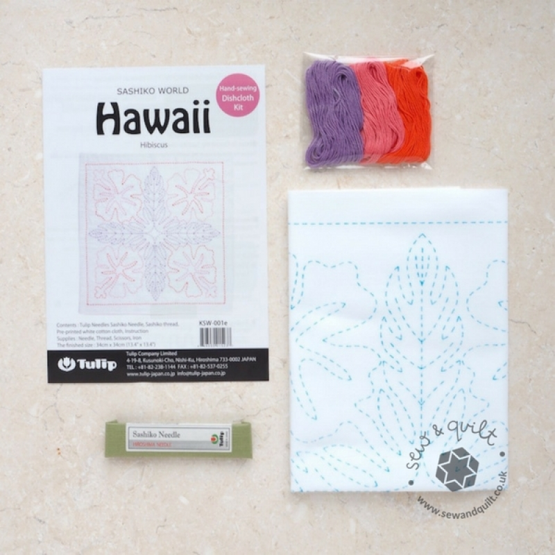 Tulip Sashiko Sewing Kit, Hawaii - Hibiscus