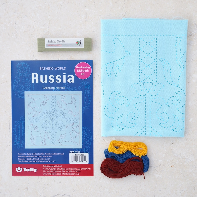Tulip-Sashiko-Sewing-Kit,-Russia-Horses