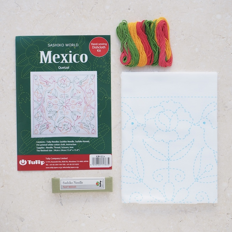 Tulip Sashiko Kit, Mexico - Quetzal